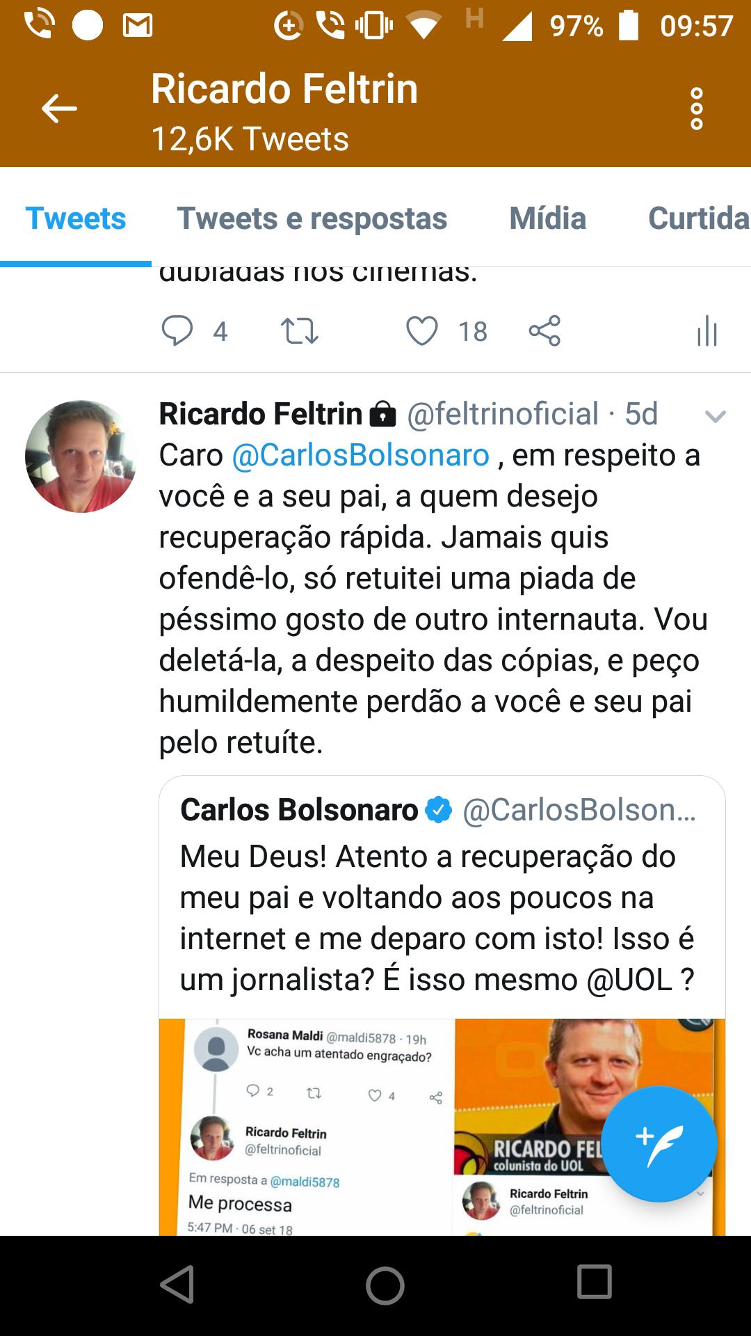 Pedido de desculpas de Ricardo Feltrin a Carlos Bolsonaro