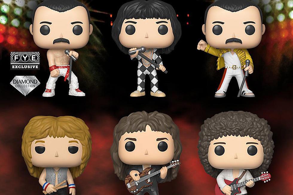 A banda Queen em versão dos bonecos Funko, com 3 versões de Freddie Mercury